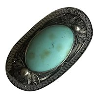 Art Nouveau Chinese Filigree Sterling Silver Blue Turquoise Pin Brooch