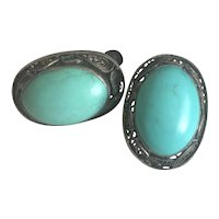 Art Nouveau Chinese Filigree Sterling Silver Blue Turquoise Earrings