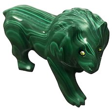 Vintage Carved Natural Malachite Lion Figurine