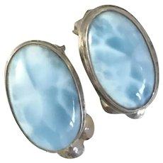 Vintage Natural Larimar Sterling Silver Clip Earrings
