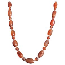 Antique Red Agate Beaded Necklace