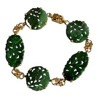 Art Nouveau 14K Yellow Gold Chinese Hand Carved Green Jade Jadeite Bracelet