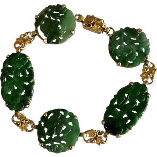 Art Nouveau 14K Yellow Gold Chinese Hand Carved Green Jade Jadeite Bracelet