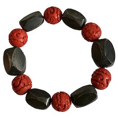 Vintage Chinese Hand-Carved Lacquer Cinnabar Red Beads with Black Horn Beads Stretch Bracelet