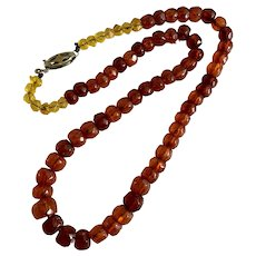 Antique Faceted Natural Baltic Cherry Amber Beaded Necklace
