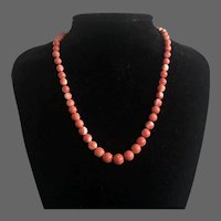 """Natural Salmon Coral Beaded Graduated Necklace with 14K Gold Clasp 18"""""""
