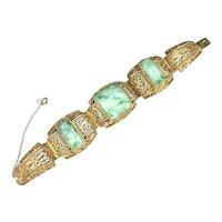 Antique Chinese Gilt Filigree Sterling Silver Apple Green Jade/Jadeite Bracelet