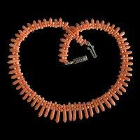 Victorian Italian Natural Salmon Coral Necklace