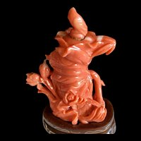 Antique Qing Dynasty Chinese Natural Salmon Red Coral Lotus Leaves and Flowers Snuff Bottle with Stand