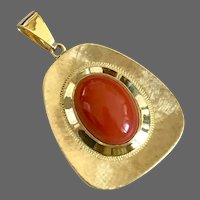 Vintage 14K Yellow Gold Natural Genuine Tomato Red Coral Pendant