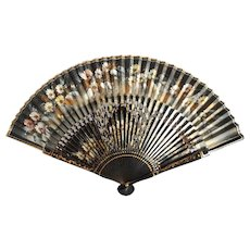 Vintage Chinese  Hand-painted Open Bamboo Black and Gold Flowered Fan