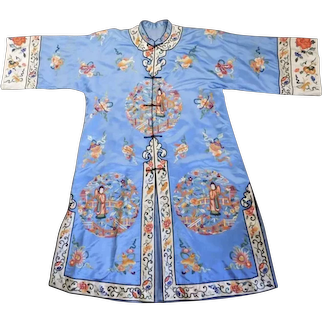 Gorgeous Vintage Chinese Embroidered Silk Eight Treasures Auspicious Coat