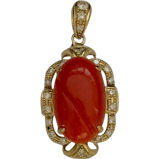 Fabulous Vintage 14K Yellow Gold Blood Red Aka Coral Diamond Pendant