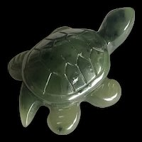 Vintage Carved Natural Green Nephrite Jade Turtle Figurine