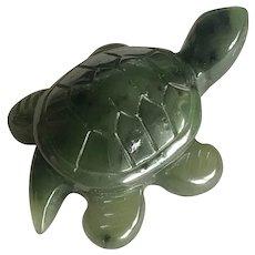 Vintage Carved Natural Green Nephrite Jade Turtle Figurine