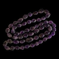 Vintage Hand Carved Natural Amethyst Beaded Hand Knotted Endless Necklace Chinese