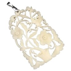 Antique Chinese Hand Hollow Carved Bone Flowers leaves and Pot Pendant