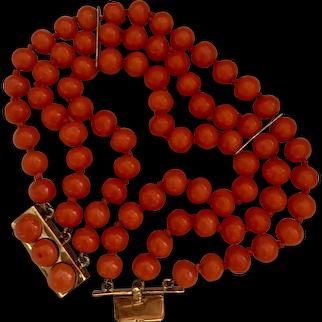 Stunning Antique 14k Rose Gold Three Strands Genuine Tomato Red Coral Beaded Bracelet