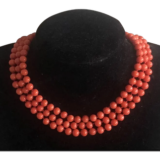Stunning Antique 14k Rose Gold Three Strands Genuine Tomato Red Coral Beaded Necklace