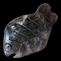 Vintage Hand Carved Natural Amethyst Fish Figurine Signed