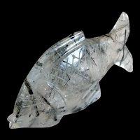 Vintage Hand Carved Natural Tourmaline Crystal Fish Figurine