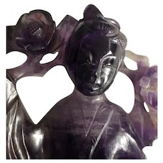 Antique Hand Carved Natural Amethyst Lady Seated Figurine Chinese
