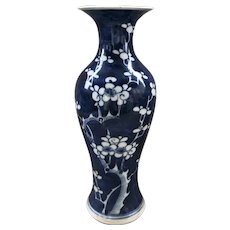 Antique Qing Dynasty Hand Painted Blue and White Flowers Porcelain Vase