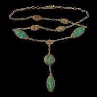 Antique Qing Dynasty Chinese Gild Filigree Carved Turquoise Flower Necklace