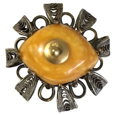 Antique Natural Butterscotch Amber Gild Filigree Pin Brooch