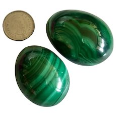 Vintage Two Natural Carved Malachite Eggs