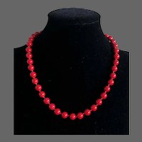 Vintage Imitation Red Coral Hand Knotted Necklace