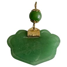 Vintage Chinese Hand Carved Natural Aventurine Pendant