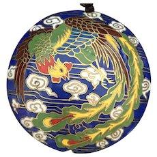Vintage Chinese Phoenix and Dragon Cloisonné Pendant