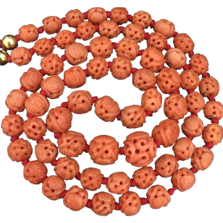 Antique Chinese Qing Dynasty Hand Carved Salmon Coral Beaded Graduated Necklace