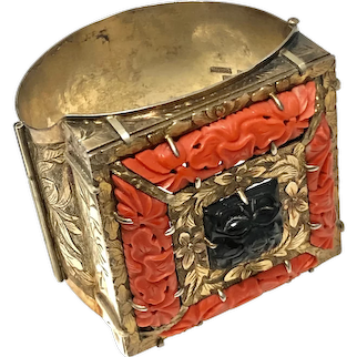 Qing Dynasty Chinese Gild Sterling Silver Hand Carved Red Coral Smoky Crystal Flowers Bangle Bracelet