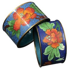 Pair of Vintage Chinese Floral Cloisonné Napkin Rings