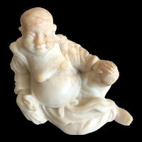 Vintage Chinese Hand Carved Natural Soapstone Laughing Buddha Figurine