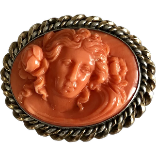 Art Nouveau Hand Carved Natural Coral Cameo Floral Silver Gold Filled Brooch