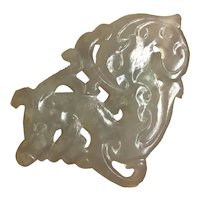 Vintage Chinese Pale Green Gray Jade Hand Carved Dragon Pendant