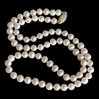 """Vintage 14K Yellow Gold White Freshwater Pearls Hand Knotted Necklace 18.25"""""""