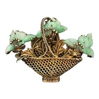 Antique Chinese Gild Sterling Silver Hand Carved Apple Green Jade Jadeite Flowers Basket Brooch