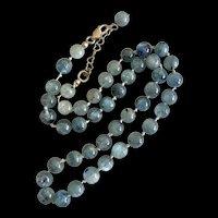 Vintage Natural Blue Tourmaline Beaded Hand Knotted Adjustable Necklace