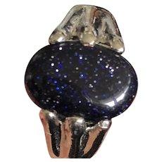 Vintage Blue Goldstone Pink Sterling Silver Ring Size 7