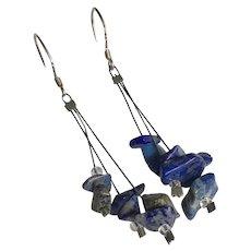 Vintage Natural Lapis Lazuli Chips Dangle Drop Earrings