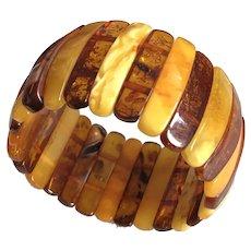 Antique Genuine Egg Yolk Baltic Amber Stretch Bracelet