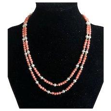 Vintage Two Strands 14K Gold Angel Skin Coral Beaded Necklace