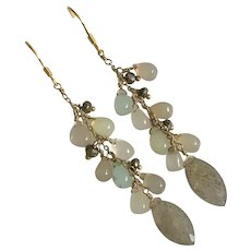 Vintage Gild Silver Natural Moonstone Teardrop Beads Lapis Dangle Drop Earrings