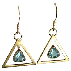 Vintage Gild Sterling Silver Blue Topaz Earrings