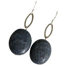 Vintage Natural Blue Coral Dangle Drop Sterling Silver Earrings