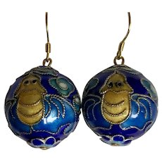 Vintage Chinese Cobalt Blue Enamel Double Bats and Clouds Bead Dangle Earrings with Sterling Silver Hooks